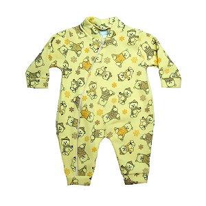Macacão Bebê Soft Ursinho Jeito Inocente Amarelo