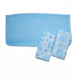 Kit Pano De Boca Estampa Pônei 03 Peças Branco e Azul