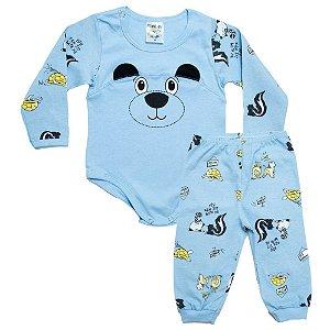 Conjunto Bebê Panda Fantoni Azul