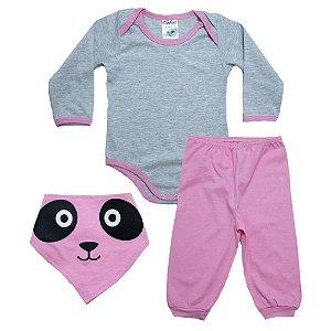 Conjunto Bebê Com Babador Panda Fantoni Mescla e Rosa