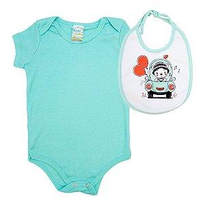 Kit Bebê Body e Babador Estampado Sati Baby Verde