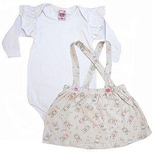 Conjunto Bebê Salopete Sonho Do Bebê Branco e Pérola