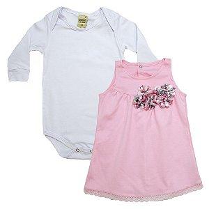 Conjunto Bebê Vestido Sonho Do Bebê Branco e Rosa