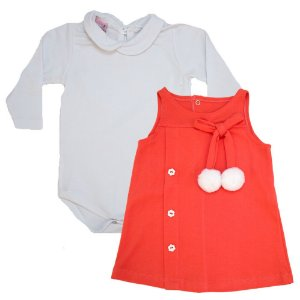 Conjunto Bebê Vestido Sonho Do Bebê Branco e Coral