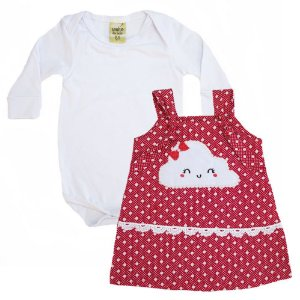 Conjunto Bebê Vestido Nuvem Sonho Do Bebê Branco e Vermelho