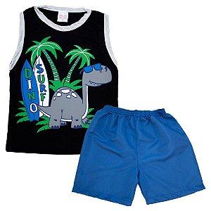 Conjunto Infantil Dino Surf Kentury Preto e Royal