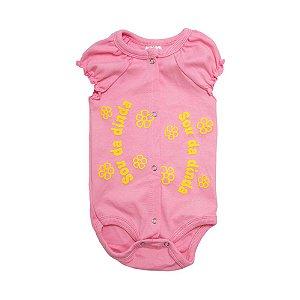 Body Bebê Sou Da Dinda Andrinaty Rosa Com Amarelo