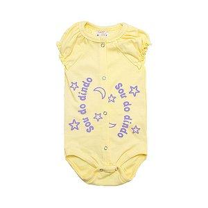 Body Bebê Sou Do Dindo Andrinaty Amarelo com Lilás
