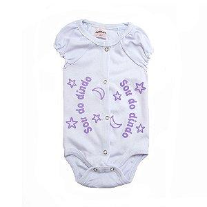 Body Bebê Sou Do Dindo Andrinaty Branco com Lilás