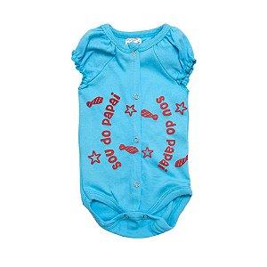 Body Bebê Sou Do Papai Andrinaty Azul com Vermelho