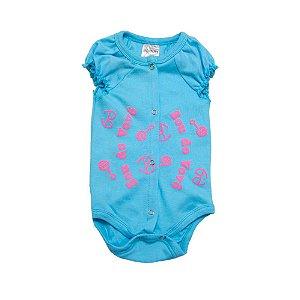 Body Bebê Sou Do Vovô Andrinaty Azul com Rosa
