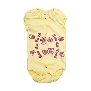 Body Bebê Sou Da Vovó Andrinaty Amarelo com Pink