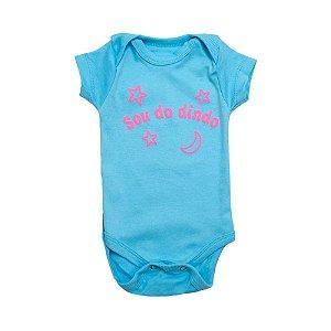 Body Bebê Sou Do Dindo Andrinaty Azul Com Rosa