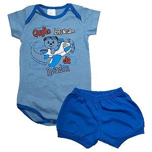 Conjunto Bebê Body Urso Aviador Lolitas Azul