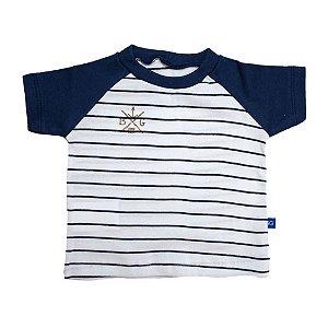 Camiseta Bebê Listrado Baby Gut Marinho com Branco