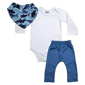 Conjunto Bebê Bandana Tubarão Uni Duni Branco Com Azul