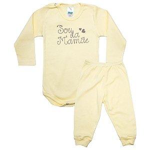 Conjunto Bebê Body Sou Da Mamãe Pho Amarelo Com Marrom