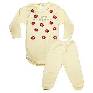 Conjunto Bebê Body Dinda Passou Por Aqui Pho Amarelo Com Rosa