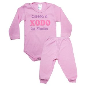 Conjunto Bebê Body Xodó Da Família Pho Rosa
