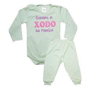 Conjunto Bebê Body Xodó Da Família Pho Verde Com Rosa