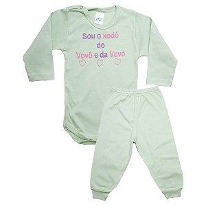 Conjunto Bebê Body Xodó do Vovô e Da Vovó Pho Verde Com Rosa