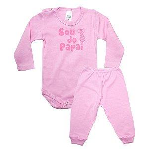 Conjunto Bebê Body Sou Do Papai Pho Rosa