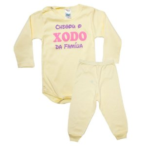 Conjunto Bebê Body Xodó Da Família Pho Amarelo Com Rosa