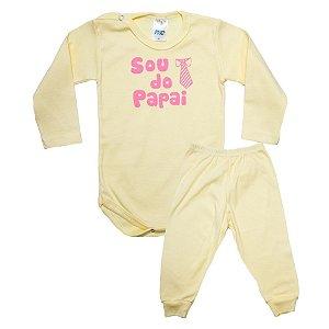 Conjunto Bebê Body Sou Do Papai Pho Amarelo Com Rosa