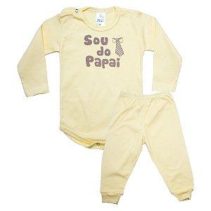 Conjunto Bebê Body Sou Do Papai Pho Amarelo Com Marrom