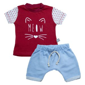 Conjunto Bebê Meow Baby Gut Vermelho
