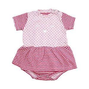 Body Vestido Bebê Poá Baby Gut Rosa