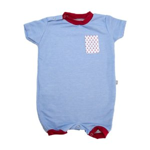 Macaquinho Bebê Bolso Poá Baby Gut Azul