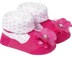 Meia Divertida Bebê Flor Duck Pink E Branco