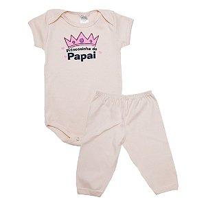 Conjunto Body Bebê Princesinha Do Papai Meu Bebê Rose