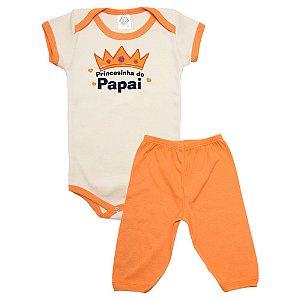 Conjunto Bebê Body Princesinha Do Papai Meu Bebê Pérola Com Laranja