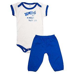 Conjunto Bebê Body Xodó Da Família Meu Bebê Bege Com Azul