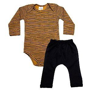 Conjunto Bebê Body Listras Uni Duni Caramelo