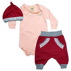 Conjunto Bebê Com Gorro Sonho Do Bebê Salmão E Vermelho