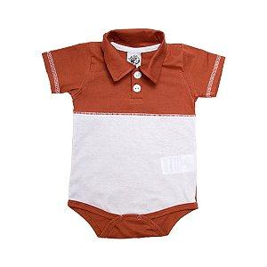 Body Bebê Gola Polo Lenda Kids Caramelo