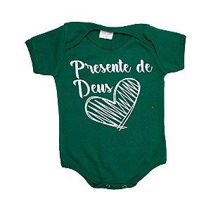 Body Bebê Frase Presente De Deus Kentury Verde