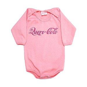 Body Bebê Frase Quero Colo Kentury Rosa