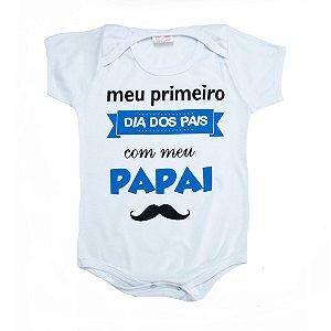 Body Bebê Meu Primeiro Dia Dos Pais Kentury Branco Com Azul