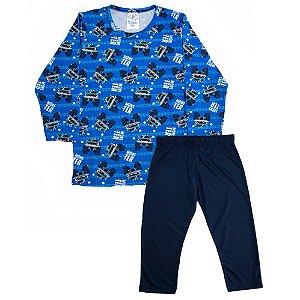 Pijama Infantil Menino Carros Castelo Kids Azul