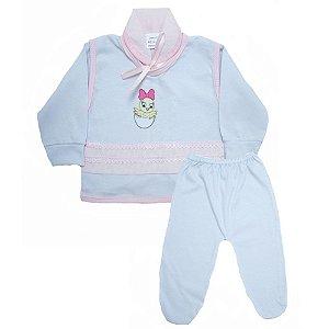 Conjunto Bebê Pagão Radani Branco E Rosa