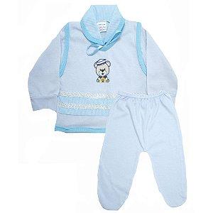 Conjunto Bebê Pagão Radani Listras Branco E Azul