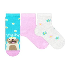 Kit Meias Soquete Dog Surprise Cia Da Meia Azul Rosa e Bege