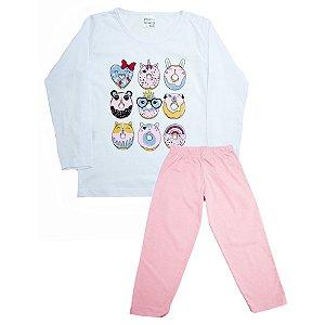 Pijama Infantil Biscoito Panna Cotta Branco Com Rosa