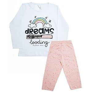 Pijama Infantil Dreams Uni Duni Branco Com Salmão