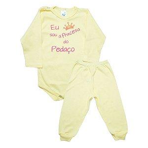 Conjunto Bebê Body Princesa Do Pedaço Pho Amarelo Com Rosa