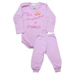 Conjunto Bebê Body Princesa Do Pedaço Pho Rosa Com Rosa